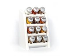 Gald Gewürzregal, Küchenregal für Gewürze und Kräuter, 12 Gläser, Holz, Weiß/matt, 17 x 27 x 15 cm
