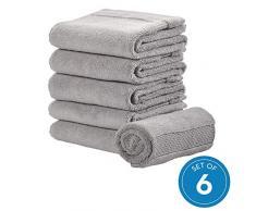 iDesign 6er-Set Handtücher, kleines Handtuch mit gewebter Verzierung aus Baumwolle, weiches und saugfähiges Handtuch Set mit Aufhänger für Waschbecken und Gäste-WC, grau