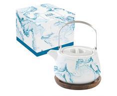 Easy Life 1089AQUA Tee-Set, Porzellan, 75 cl, mit Sockel aus Acacia Aqua, 0,75 l, mehrfarbig