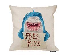 HGOD Designs Hai-Kissenbezug, lustiges Tier, blauer Hai hält blutfreies Kusszeichen, Baumwolle, Leinen, Polyester, Dekoration, Sofa, Schreibtisch, Stuhl, Schlafzimmer, 40,6 x 40,6 cm 18x18 Inch A4-0037
