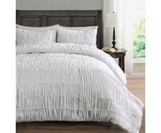 Gerüscht Bettwäsche Tröster 3-teilig, PINCH Falte Bezug für Hundebett,, Polyester-Mischgewebe, weiß, White King/Cal-King Ruched Bedding