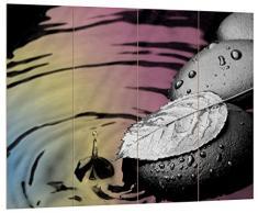 Pixxprint Blatt auf Zen Steinen im Wasser schwarz/weiß, MDF Bretterlook Format: 80x60cm, Wanddekoration Holzbild, Holz, bunt, 80 x 60 x 2 cm