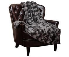 Chanasya Super Weich Warm Elegant Cozy Fuzzy Fell Flauschiges Kunstfell mit Sherpa Gewelltes Muster Plüsch Überwurf Decke (127 x 165,1 cm) – massives Wave geprägt, Polyester, dunkelgrau, 50x65 inches