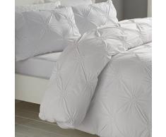 Signature Elissa Delicate 100% Baumwolle, Classic Gerüschte Rosette verziert Bettbezug-Set, Einzelbett, Altrosa, Baumwolle, weiß, Doppelbett