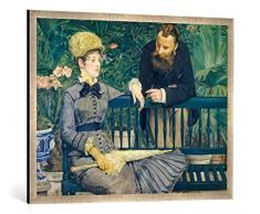Gerahmtes Bild von Edouard Manet Das Ehepaar Guillemet im Gewächshaus, Kunstdruck im hochwertigen handgefertigten Bilder-Rahmen, 100x70 cm, Silber Raya