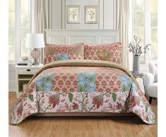 K&M MK Hause über Größe Set Decke Tagesdecke Gesteppt Patchwork Floral Quadrate Beige Rot Hellblau Grün Weiß Neu # Valencia Full/Queen Beige