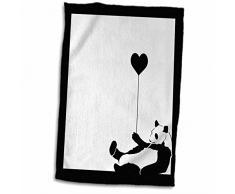 3dRose Handtuch, Motiv Panda, mit Luftballon, 38 x 56 cm, Weiß