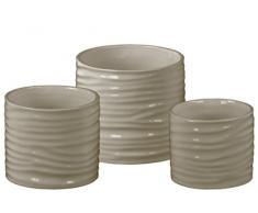 Urban Trends Keramik Low Zylinderförmiger Übertopf mit geriffeltes Design Body Set von DREI Glanzfinish, Taupe