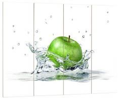 Pixxprint Grüner Apfel im Wasser, MDF Bretterlook Format: 80x60cm, Wanddekoration Holzbild, Holz, bunt, 80 x 60 x 2 cm
