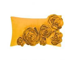JWH handgefertigt Accent Kissen 3D Rose Blumen Kissen super weich Samt dekorative Kissenbezüge Home Sofa Auto Schlafzimmer Büro Stuhl Decor pillowslips rechteckig Geschenke 30,5 x 50,8 cm Art Deco 12 x 20 Inch gelb