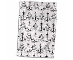3D Rose Chic weiß und schwarz Kronleuchter Handtuch, 38,1 x 55,9 cm, Mehrfarbig