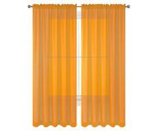 WPM World Products Vorhang/Schal/Behandlung, schönes, durchscheinendes Voile-Vorhänge für Schlafzimmer und Küche, komplett genäht und gesäumt 84 Inch Long Orange