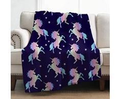Levens Weiche Überwurfdecke, Decke für Bett Couch Sofa, leicht, für Reisen, Camping, 127 x 152 cm, Überwurfgröße für Kinder und Erwachsene Einhorn-Decke 17