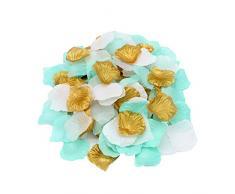 2NDTONONE 900 Stück Mint Gold Weiß Rosenblätter künstliche Blütenblätter für Hochzeit Party Tischkonfetti Laufläufer Blumenmädchen Brautparty Hotel Home Vase Dekoration
