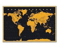 Weltkarte in schwarz & Gold Poster Magnettafel Buchenholz-Rahmen, 96,5Â x 66Â cm (ca. 96,5Â x 66Â cm)