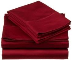Flow s Leinen alle Größe Blatt Original 1200-thread Zählen Luxus Weich 100% Heavy Ägyptische Baumwolle – Tabelle Set für alle Größe passend für Matratze bis 35,6–40,6 cm Taschen Tiefe (Solid, Farbe) Traditionell King burgunderfarben