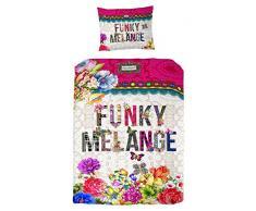Melli Mello Kinderbettwäsche Funky Melange mit farbigen Buchstaben und Blumen, 200 x 135 x 0,5 cm, mehrfarbig