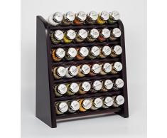 Gald Gewürzregal, Küchenregal für Gewürze und Kräuter, 36 Gläser, Holz, Venge (schwarz)/glänzend, 31.5 x 41 x 16 cm