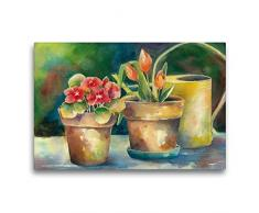 Premium Textil-Leinwand 75 x 50 cm Quer-Format Blumentöpfe   Wandbild, HD-Bild auf Keilrahmen, Fertigbild auf hochwertigem Vlies, Leinwanddruck von Jitka Krause