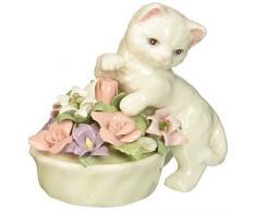 COSMOS Kosmos 96475 feines Porzellan Kätzchen mit Blumentopf Figur, 3 Zoll