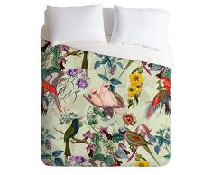 Society6 Burcu Korkmazyurek VIII Bettdecke und 2 Kissenbezüge, Blumenmuster und Vögel King Mehrfarbig