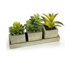 MyGift Künstliche Sukkulentenpflanzen, 16 cm, mit quadratischem Übertopf und rechteckigem Tablett, 3 Stück