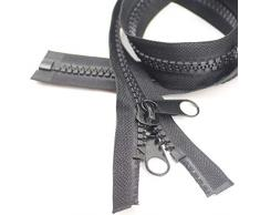 yahoga # 10 213,4 cm Trennen Große Kunststoff Reißverschlüsse Schwarz Tape mit Double Pull Tab Slider Nähen, für Schlafsack, Boot Leinwand, Trampolin, Hundebett, Zelt (213,4 cm 1pc)