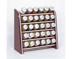 Gald Gewürzregal, Küchenregal für Gewürze und Kräuter, 30 Gläser, Holz, Braun/matt, 31.5 x 34.5 x 14.5 cm