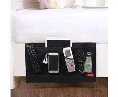 DuomiW 6 Taschen Nachttisch Organizer neben Caddy, Tisch Schrank Aufbewahrung Organizer, TV Fernbedienung, Telefone, Zeitschriften, Tablets, Zubehör schwarz