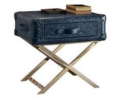 Major-Q 9083558 Beistelltisch, 61 cm hoch, Industrie-Stil, mit Edelstahlunterseite, Vintage-Stil, Blau