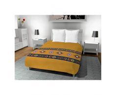Soleil docre Aztec Bettdecke, Polyester-Baumwolle, Braun, 220 x 240 cm