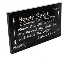 Spirit & Truth Home Decor Wandbild House Rules Choose You This Day Whom You Will Serve Joshua, 61 cm (24 Zoll), mit tiefem Waschbecken, 22,5 x 13,5 x 1,25 cm