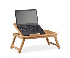 Relaxdays, Natur Höhenverstellbarer Laptoptisch fürs Bett, Bambus Notebooktisch m. Schublade, HxBxT: 30 x 69 x 35 cm, Standard