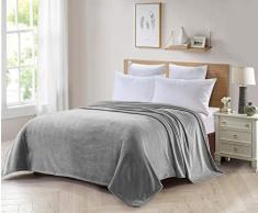ForenTex Tagesdecke für Sofa und Bett, Flanell, 300 g/m², fusselfrei, weich, warm, Verschiedene Größen und Farben L-3097, Perlgrau, 180 x 220 cm, 2 Stück