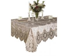 Elegantes Samt Spitze Sheer Floral Deluxe Design Tischdecken, Polyester Textil Spitze, taupe, 70 Inches x 108 Inches