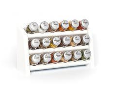 Gald Gewürzregal, Küchenregal für Gewürze und Kräuter, 18 Gläser, Holz, Weiß/matt, 30.5 x 20.5 x 10.5 cm