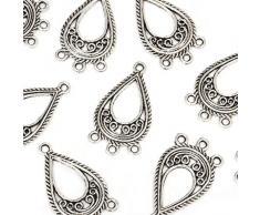 Beads Unlimited Ohrring Kronleuchter, silberfarben antik-optik, 27x15mm