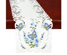 Simhomsen Spring Butterfly und Blumen Tisch Kommode, Läufer, Schal 14 by 108 inch Blau