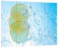 Pixxprint Zitronenscheiben im Wasser, MDF Bretterlook Format: 80x60cm, Wanddekoration Holzbild, Holz, bunt, 80 x 60 x 2 cm