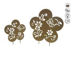 ABC Home Garden Blumen ♦ Solarleuchte ♦ Solarstecker ♦ LED ♦ Solarbetrieben ♦ EIN-& Ausschalter ♦ 2er Set, Eisen, Rostbraun
