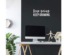 Vinyl-Wandaufkleber - Keep Going Keep Growing - 22,9 x 55,9 cm - Trendy Motivational Zitat Aufkleber für Zuhause, Schlafzimmer, Jugendzimmer, Wohnzimmer, Schrank, Büro, Dekoration 9 x 22 weiß