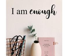 Vinyl-Wandaufkleber - I Am Enough - 12,7 x 38,1 cm - modernes inspirierendes Zitat zum Selbstwerten, für Zuhause, Schlafzimmer, Badezimmer, Schminktisch, Büro, Dekoration, Aufkleber