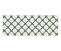 Laroom 14164-Küchenteppich aus Vinyl, Fliesen in Blumenmotiv, 140cm