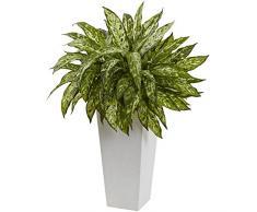Nearly Natural Fast Natur 6836 KOLBENFADEN Kunstpflanze mit Weiß Deko Übertopf