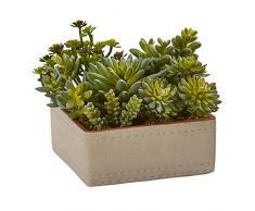 Nearly Natural Fast Natur gemischt Sukkulente Kunstpflanze mit Übertopf, 17,8 cm