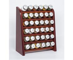 Gald Gewürzregal, Küchenregal für Gewürze und Kräuter, 36 Gläser, Holz, Braun/matt, 31.5 x 41 x 16 cm