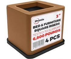 NEU Braun/Schwarz Bett. Schreibtisch, Couch, Stuhl Riser/Lift (Pat. Pending) stärksten nicht Risse, Gummi unten nicht kratzen Böden, Ständer Assist, unterstützt + 2.000 Pfund, ABS, braun, 4er-Packung