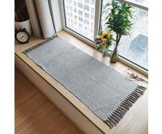 USTIDE Baumwolle, wendbar Teppich Flickenteppich mit einer Hand mit Multicolor Diele für Waschküche Küche Badezimmer Schlafzimmer dormat, baumwolle, Light Gray&white, 23.6x70