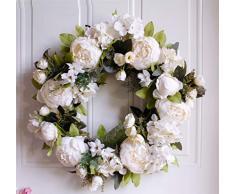 WooooW Ltd Kranz mit Pfingstrose, Hortensien, künstlicher Pfingstrose, Türkranz mit grünen Blättern, für Haustür, Hochzeit, Wand, Heimdekoration