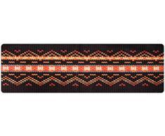 DECO-MAT Rutschfester Teppich-Läufer ohne Rand für den Innenbereich oder Eingangsbereich, 80 x 250 cm, braun-rot